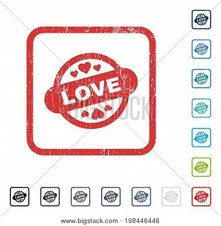 Love Stamp Seal rubber watermark in some color versions.. Vector pictogram symbol inside rounded rectangular frame with grunge design and scratched texture. Stamp seal illustration, unclean sign.