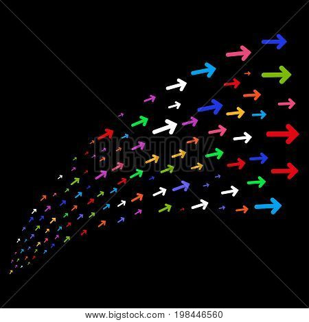 Fountain of arrow direction symbols. Vector illustration style is flat bright multicolored iconic arrow direction symbols on a black background. Object fountain organized from symbols.