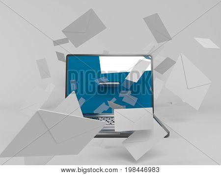 3D Laptop With Many White Envelopes