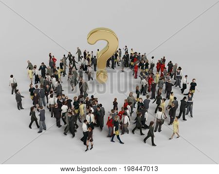 3D Characters Around A Golden Question Mark