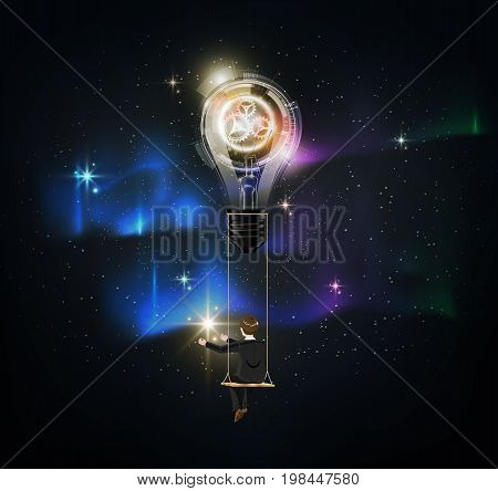 Glowing Futuristic abstract light bulb is among a lot of stars on aurora blue sky, businessman on rope swing reach star, Representation of creative business idea concept, Vector