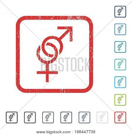 Sex Symbol rubber watermark in some color versions.. Vector icon symbol inside rounded rectangular frame with grunge design and dust texture. Stamp seal illustration, unclean sticker.