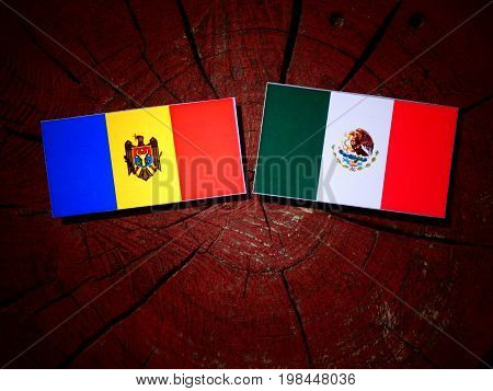 Moldovan Flag With Mexican Flag On A Tree Stump Isolated
