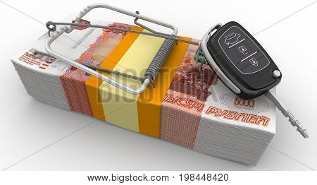 Financial risk when buying a car. Mousetrap from pack of Russian rubles with bait as flip car ignition key. Isolated. 3D Illustration