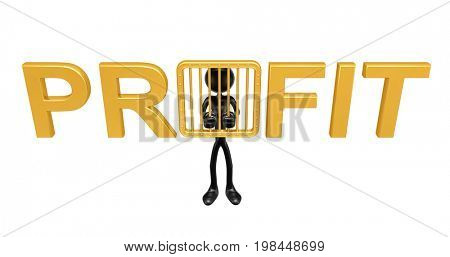 The Original 3D Character Illustration Behind Bars Spelling The Word Profit