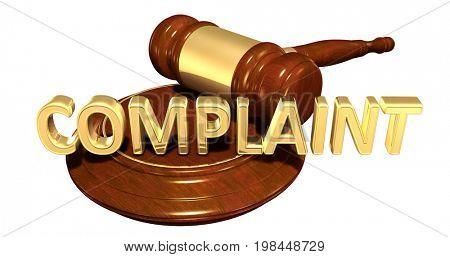 Complaint Law Concept 3D Illustration