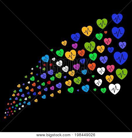 Fountain of cardiology symbols. Vector illustration style is flat bright multicolored iconic cardiology symbols on a black background. Object fountain made from pictographs.