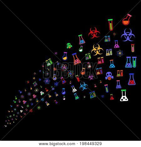 Source of chemistry symbols icons. Vector illustration style is flat bright multicolored iconic chemistry symbols on a black background. Object fountain made from symbols.