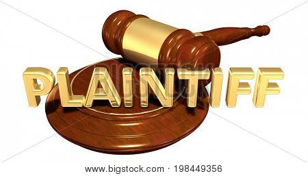 Plaintiff Legal Gavel Concept 3D Illustration