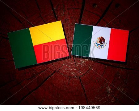 Benin Flag With Mexican Flag On A Tree Stump Isolated