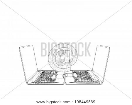 3D Wireframe Laptop