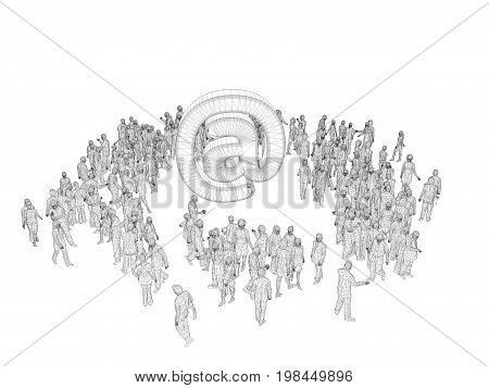 3D People Wireframe Around A Symbol