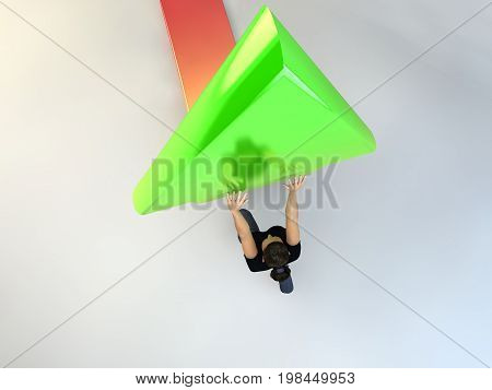 A Woman Pushing The Arrow Up Finanice Concept On White