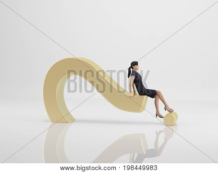 3D Rendering Of A Woman Asking For Help On White