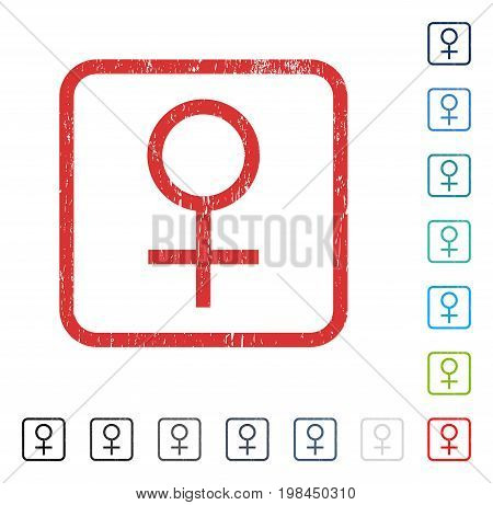 Venus Female Symbol rubber watermark in some color versions.. Vector pictogram symbol inside rounded rectangle with grunge design and dirty texture. Stamp seal illustration, unclean sticker.