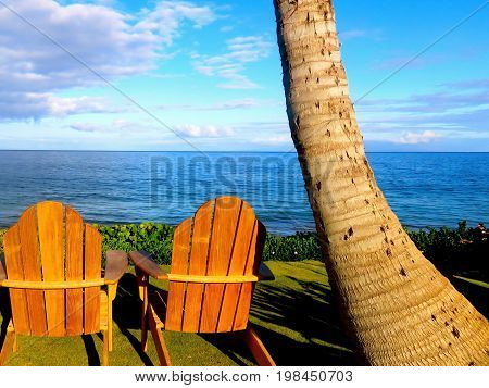 Hawaii Resort Chairs in Front of Pacific Ocean