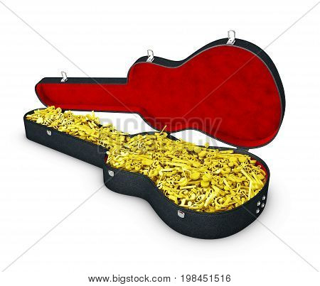 3D Illustration Of Guitar Case With Notes.