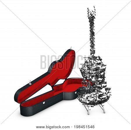 3D Illustration Of Case With Guitar From Notes. Isolated White