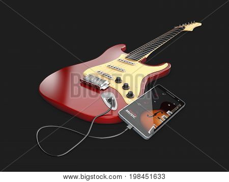 3D Illustration Of Online Guitar Lessons. Musical App Concept.