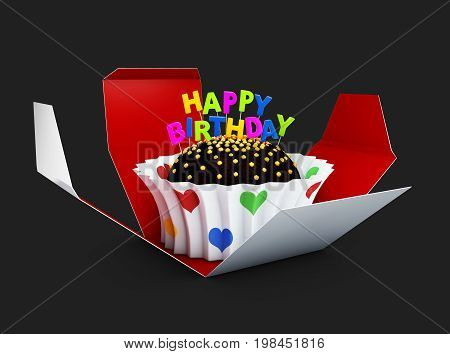 3D Illustration Of Birthday Cake With Chocolate Creme. Isolated Black