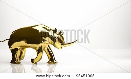 Golden 3D Rendering Of A Rhino Inside A Studio