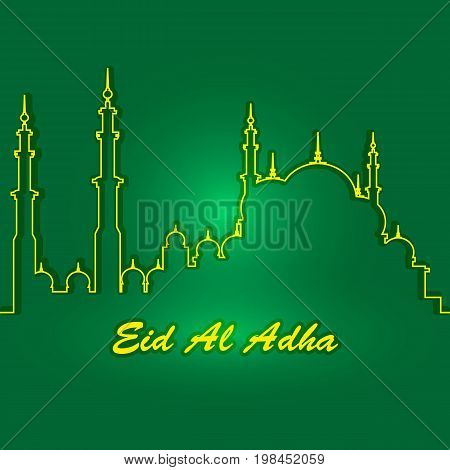 Eid Al Adha. Lettering composition of moslim holy month with mosque building