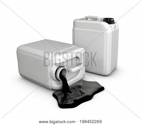 Silhouette Of A Canister Of Oil, Isolated White, 3D Illustration