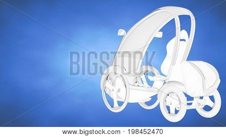 Outlined 3D Rendering Of An Auto Mobile Inside A Blue Studio