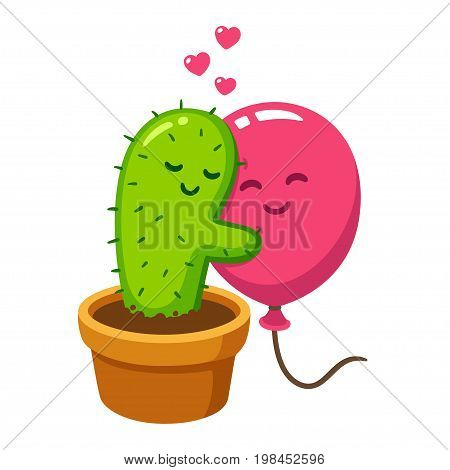 Cute cartoon cactus and balloon hug vector drawing. Love hurts funny Valentine's day illustration.