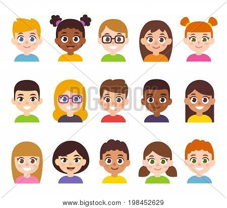 Cartoon children avatar set. Cute diverse kids faces vector clipart illustration.
