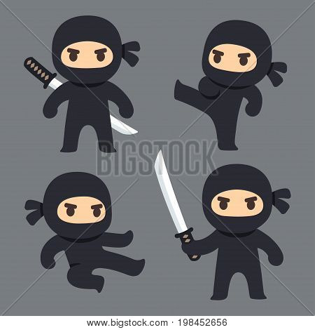 Cute cartoon ninja with katana sword martial arts poses. Vector clip art illustration set.