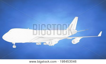 Outlined 3D Rendering Of An Airplane Inside A Blue Studio