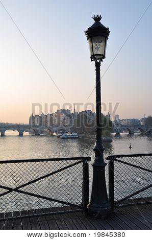 Streetlight at the Pont des Arts poster