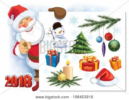 Colorful collection of Christmas decoration design elements with smiling Santa Claus pointing at you.