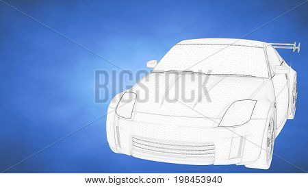 outlined 3d rendering of a sport car inside a blue studio