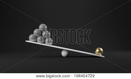 3d rendering of balance concept gold value
