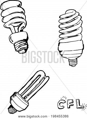 Outlined Compact Fluorescent Light Bulbs