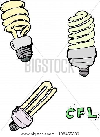 Compact Fluorescent Light Bulb Sketches