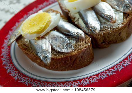 Estonian Sandwich With  Anchovies