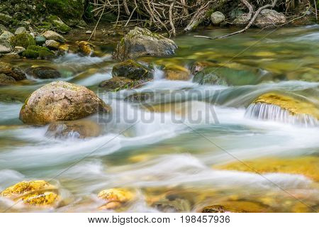 Kolasinskaya River Flows Through The City With A Rapid Flow. Montenegro, Kolasin.