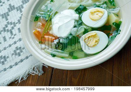 Polish Sorrel Soup. Slavic cuisine freshness cooked close up