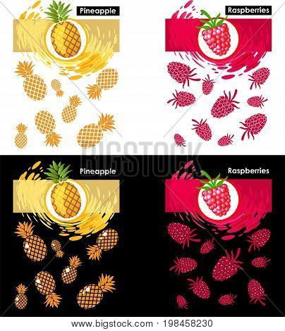 Set label icon of fruits on white and black pattern raspberry and pineapple splash backdrop