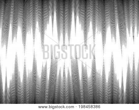 Seamless halftone waves glitch modern pattern abstract digital design abstract background vector illustration in black and white