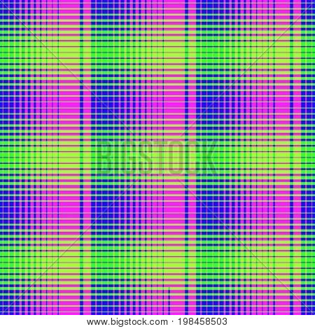 Seamless madras checkered pattern crosshatch fabric print seamless halftone pattern geo geometric background in magenta and blue screen print texture