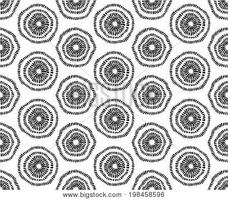 Seamless hand drawn texture. Abstract round flowers. Black and white design. Fabric print packaging wallpaper wrapping paper web design template. Vector graphic