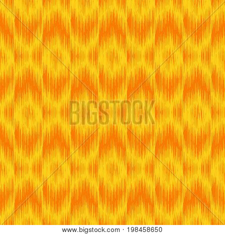 Seamless ikat pattern in yellow. Abctract seamless fabric print. Monochrome monotone vector background in Boho style. Soft textured background in folk style with geo geometric pattern.