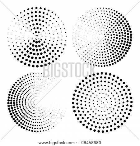 Set of round halftone elements. Abstract halftone background. Black and white vector illustration. Halftone dotted background. Background design element. Pop art popart comic book background decor. poster