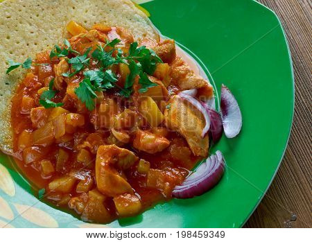 Cheaters Chicken Mole. typical mexican dish  mediterranean cooked close up