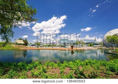 Toronto, Ontario, Canada, June 16, 2017, amazing landscape view and grounds of Ontario place park on sunny beautiful day