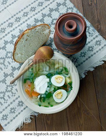 Polish Sorrel Soup. Slavic cuisine close up meal